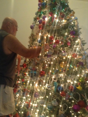 Papaw making sure the ornaments were facing the right way!